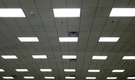 t bar: T Bar ceiling with fluorescent light box and air conditioner grille