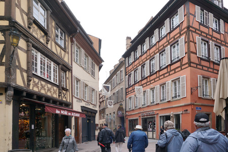 strasbourg: Strasbourg, France - 3 May,2016 :Beautiful old town of Strasbourg with people walking around on 3 May 2016 in Strasbourg, France Editorial