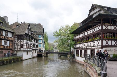 strasbourg: Strasbourg, France - 3 May,2016 :Beautiful old town of Strasbourg at the tourist boat pier on 3 May 2016 in Strasbourg, France