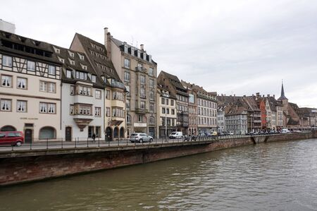 strasbourg: Strasbourg, France - 3 May,2016 :Beautiful old town of Strasbourg along the river on 3 May 2016 in Strasbourg, France