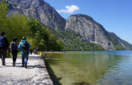 berchtesgaden: Berchtesgaden, Germany - 5 May,2016 : Tourist are relexing at lake at Konigssee on 5 May 2016 in Berchtesgaden , Germany