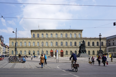 residenz: Munich, Germany - 2  May,2016 : Tram track with Munich Residenz building background on 3 May 2016 in Munich, Germany