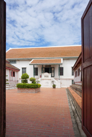 phra nakhon si ayutthaya: Phra Nakhon Si Ayutthaya , Thailand - 31 July,2016 : Historical building with traditional Thai roof  in Chankasem Old Palace museum on 31 July 2016 in Phra Nakhon Si Ayutthaya , Thailand