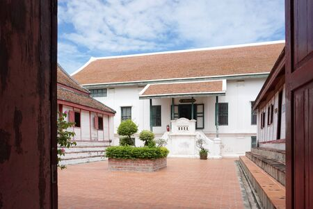 residental: Phra Nakhon Si Ayutthaya , Thailand - 31 July,2016 : Historical building with traditional Thai roof  in Chankasem Old Palace museum on 31 July 2016 in Phra Nakhon Si Ayutthaya , Thailand