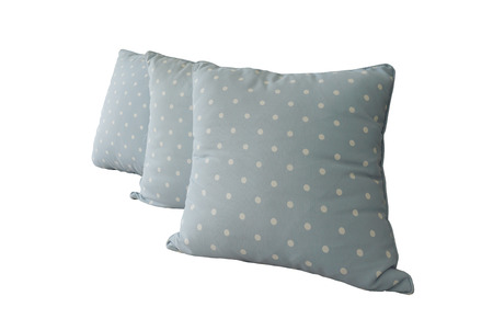 throw cushion: Generic blue pattern pillow isolated on white background