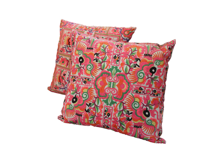 throw cushion: Generic colorful tribe pattern pillow isolated on white background Stock Photo