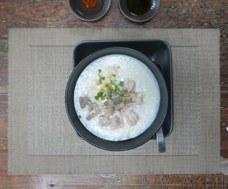 chitterlings: rice porridge with pork serving for Asian breakfast