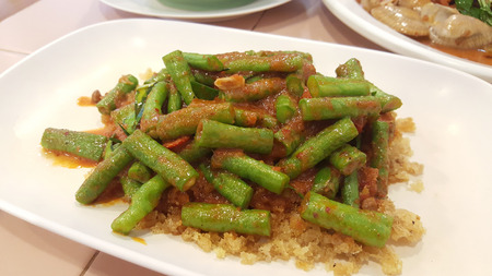 long bean: spicy long bean with crispy fish meat