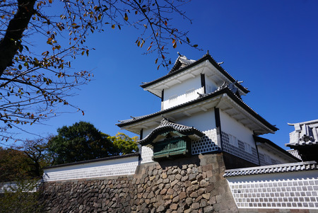Kanazawa, Japan - 2 November,2016 : Beautiful Tower gate at Kanazawa castle on nice weather day in Japan on 2 November 2016 in Kanazawa, Japan
