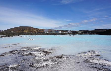 blue lagoon: Bellissimo lago d'acqua blu in laguna blu in Islanda