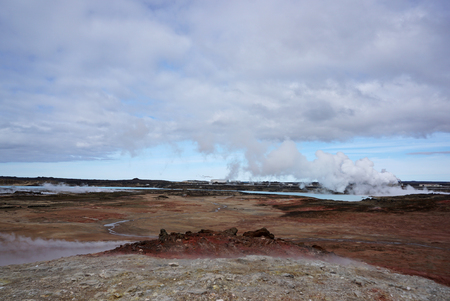 the pampas: Gunnuhver hot spring landscape in Iceland Stock Photo