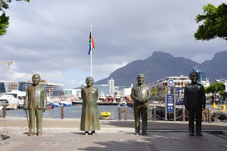 laureates: Cape Town, South Africa - 28 September,2016 : Statues of South Africas four Nobel laureates in V&A Waterfronts Nobel Square on 28 September 2016 in Cape Town, South Africa