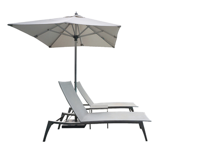 recliner beach bed with parasol isolated with white background Reklamní fotografie