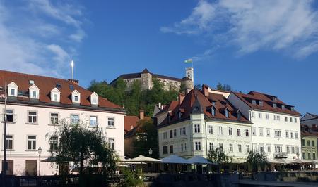 Ljubljana, Slovenia - April 10 :  Ljbljana castle on the hills with heritage old town buidling surround on 10 April, 2017 in Ljubljana, Slovenia Editorial