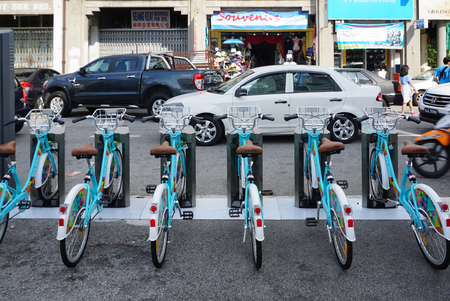 George Town, Malaysia - 3 June ,2017 : Linkbike, automatic  rentable bike stand on the road in old town of George Town, Penang on 3 June 2017 in George Town, Malaysia