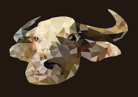 Abstract of albino buffalo head shot low poly vector with dark background