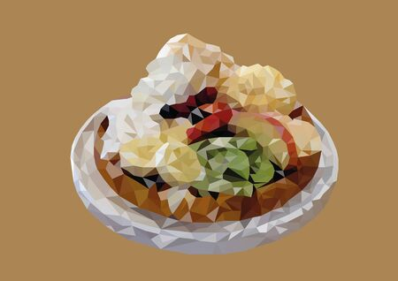 Abstract of Mixed fruit waffle low poly vector with brown background.