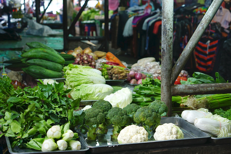 Variety of fresh vegetable at the vegetable stall in fresh market in Thailand