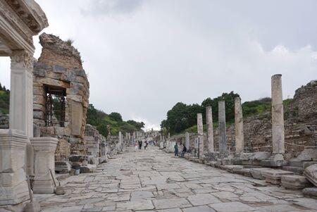 Selcuk, Turkey - 15 April ,2019 : Tourist walking around the Ancient Greek and Roman ruins in Ephesus the famous landmark in Turkey on 15 April ,2019 in Selcuk, Turkey