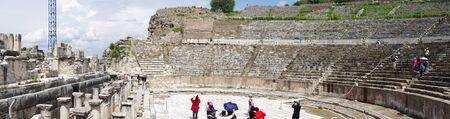 Selcuk, Turkey - 15 April ,2019 : The Great Theater of Ephesus , Ancient Greek and Roman ruins famous landmark in Turkey on 15 April ,2019 in Selcuk, Turkey