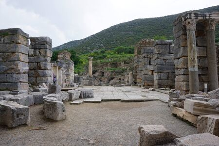 Selcuk, Turkey - 15 April ,2019 : The Ancient Greek and Roman ruins in Ephesus the famous landmark in Turkey on 15 April ,2019 in Selcuk, Turkey