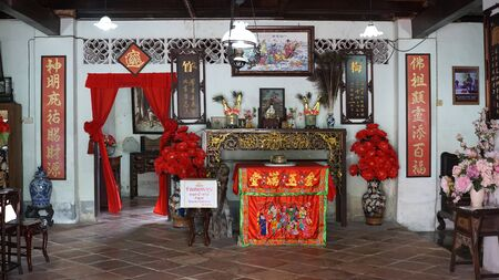Ranong, Thailand - 3 November,2019 : Vintage Chinese style residential house of Baan thein Sue 100 years old in Downtown Ranong province on 3 November, 2019 in Ranong, Thailand