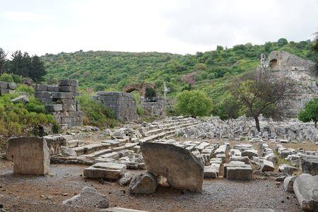 Ancient Greek and Roman ruins in Ephesus the famous landmark in Selcuk,Turkey 版權商用圖片