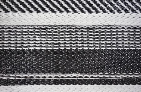 Black and white stripe plastic woven mat texture and pattern