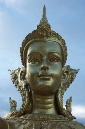 adorning: Golden goddess statue which adorning at the temple, also known as absara.
