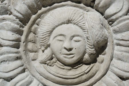 Low relief of women face at the pollen with the petals around
