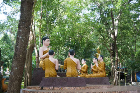 taught: Statue of Buddha taught his disciples at  Wat Chak Yai Buddhist Park temple, the temple at eastern of Thailand