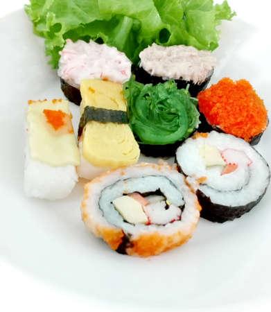 Set of Japanese food, Sushi,  on white plate isolated on white background.