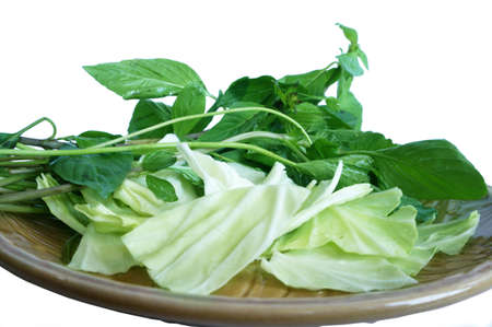 Vegatables set - diet food for health - green sweet basil ( Thai basil ), white cabbages isolated on white background