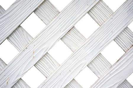 Vintage photo of white wood lath texture isolated on white background, close up