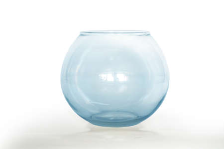 fish tank: Empty fish bowl, glass bowl, blue color, isolated on white background, close up Stock Photo