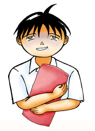 sleeping bags: School boy clipart illustration - sleepy boy carrying a pillow with a dozy face isolated on white background