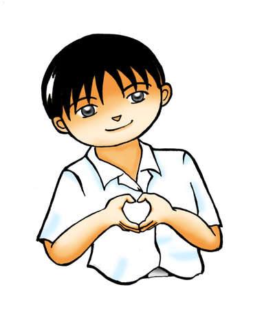 affection: School boy clipart illustration - boy smiling and saying I love you by doing finger language in the heart-shaped isolated on white background