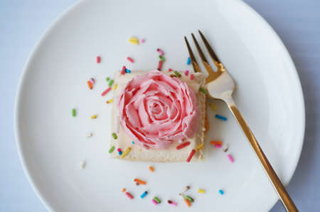 pound cake: A photo of colorful vanilla cream cake decorated with sugar topping isolated on white background, close up