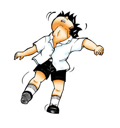 sway: School boy clipart illustration - boy is fainting isolated on white background