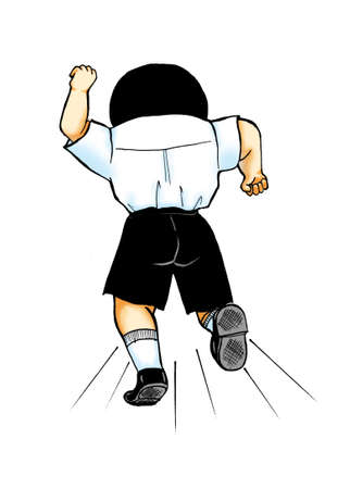 School boy clipart illustration - boy turning back and running away isolated on white background