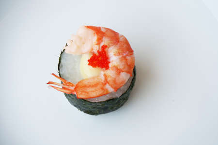 tuna mayo: Asia - Asian eating food, Japanese food, photo of sushi shrimp and flying fish roe on mayonnaise isolated on white background, close up.