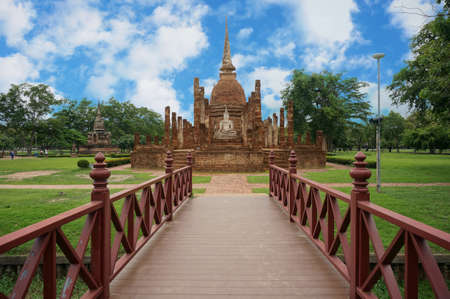 A photo of bridge to Buddha Pagoda, is a World Heritage at Sukhothai Historical Park, Sukhothai, Thailand, outdoor