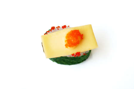 Asia - Asian eating food, Japanese food, Flying fish roe seaweed sushi with cheese isolated on white background, close up
