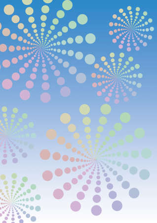 Illustration of pattern of retro rainbow polka dot, flowers-fileworks style, on blue background