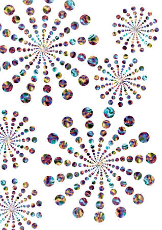 Illustration of pattern of retro rainbow polka dot, flowers-fileworks style, on white background Imagens