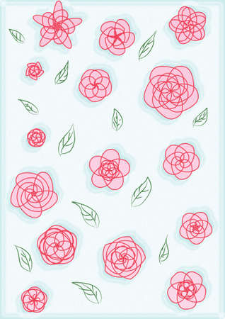 Illustrations of geometry pink flowers line art and green leave on blue background