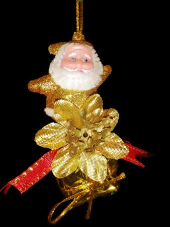 Christmas tree decorations, Santa Claus, for celebrate Xmas party isolate on black backgorund.