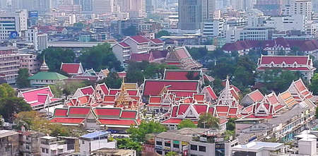 A photo of city with Thai culture roof and buildings,  aerial view over skyline, Bangkok, Thailand Stok Fotoğraf