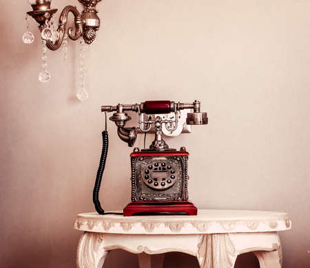 red telephone: Red Vintage Telephone