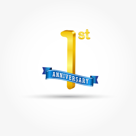 1st golden Anniversary  with blue ribbon isolated on white background. 3d gold 1st Anniversary Çizim